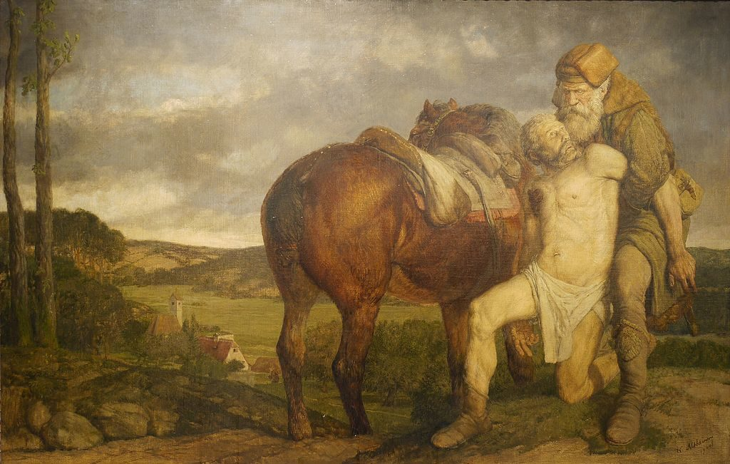Der barmherzige Samariter von Wilhelm Altheim (1871-1914) (Kunsthandlung J.P. Schneider) [Public domain], via Wikimedia Commons