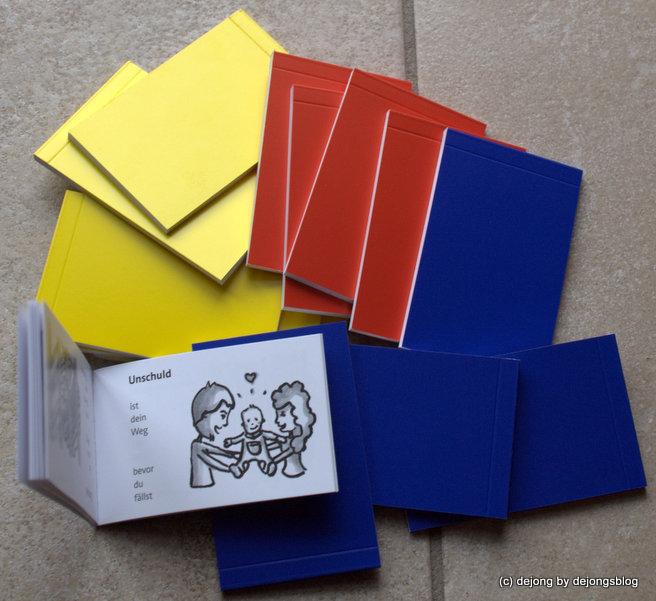 modobooks in blau, gelb und rot