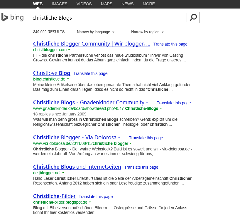Bing-Suche: christliche Blogs
