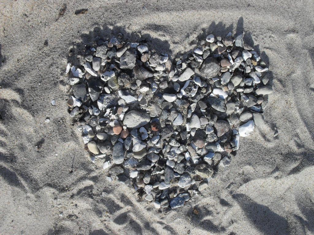 Sommergruß, Herz aus Muscheln